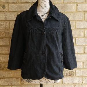 Larry Levine  Denim Jacket Blazer Stretch Sz L